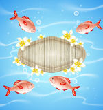 Blue summer background with fish Royalty Free Stock Photos