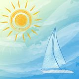 Blue summer background with suns and boat Royalty Free Stock Image