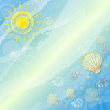 Blue summer background with suns and shells Royalty Free Stock Photos