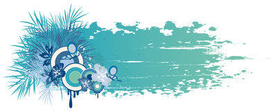 Blue summer banner with tropical plants Royalty Free Stock Image