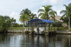 Blue summer beach house Stock Photo