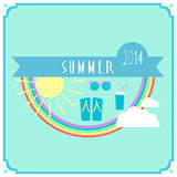 Blue summer card with sun, rainbow, clouds Stock Photography