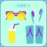 Blue summer card with sunglasses, headphones, Royalty Free Stock Image