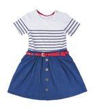 Blue summer dress for little girl isolated on white background.  Stock Photo