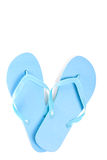 Blue summer flip flop shoes isolated on white Stock Photography
