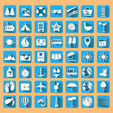 Blue summer holiday icon set. Royalty Free Stock Photo