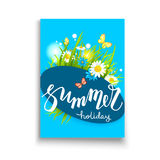 Blue summer lettering Stock Image