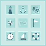 Blue Summer and Naval icons stickers set Royalty Free Stock Images