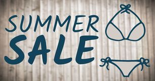 Blue summer sale text and blue bikini graphic against blurry wood panel. Digital composite of Blue summer sale text and blue bikini graphic against blurry wood Royalty Free Stock Images