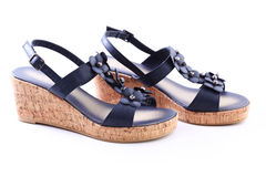 Blue summer shoes royalty free stock image