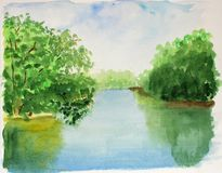 Blue summer sky, bright sunny day, warm lake and green trees. watercolor summer landscape stock illustration