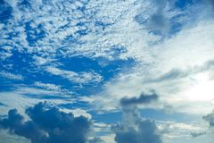 Blue summer sky white cumulus clouds. Background Royalty Free Stock Photography