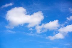 Blue summer sky white cumulus clouds. Background Royalty Free Stock Images