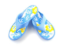 Blue summer slippers Stock Photography