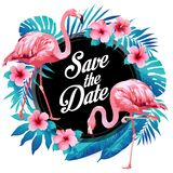 Blue summer tropical palm leaves with exotic flamingo and hibiscus flowers. Vector floral background. Blue summer tropical palm leaves exotic flamingo and royalty free illustration