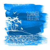 Blue summer watercolor background Stock Photo