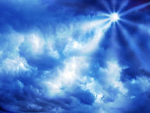 Blue sun royalty free stock photo