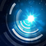Blue Sun Background Means Glowing And Radiating Waves Royalty Free Stock Images