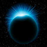Blue sun beams over planet Royalty Free Stock Photography