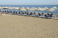 Blue sun beds Stock Image