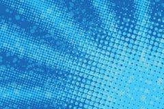 The blue sun with rays pop art retro background stock illustration