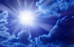 Blue Sun Sky Rays Background