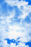 Blue Sun Sky. A blue sky with sun and clouds Stock Photos