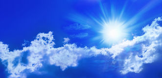 Blue Sun Sky Panorama Banner. A sky panorama banner with the sun, blue sky, and clouds stock photos