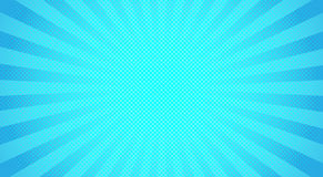 Blue sunbeams halftone background. Vector illustration. Bright sunbeams background with blue dots. Abstract background with halftone dots design. Vector Royalty Free Stock Photography