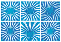 Blue sunburst background set. Vector set of abstract background with blue sunburst cmyk Royalty Free Stock Images