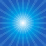 Blue sunburst background. Vector with light rays Stock Photography