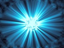 Blue sunburst with rays. And clouds - digital illustration Stock Photography