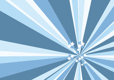 Blue sunburst with stars Stock Photography