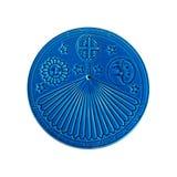 Blue sundial on white Stock Photo