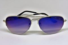 Blue sunglasses stock photos