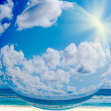 Blue sunny sky with clouds Royalty Free Stock Photography