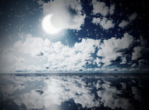 Blue sunny sky with clouds Royalty Free Stock Photos