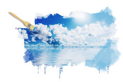 Blue sunny sky with clouds Stock Photos