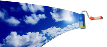 Blue sunny sky with clouds Stock Photography