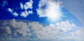 Blue sunny sky with clouds Stock Photo