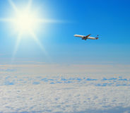 Blue sunny sky with clouds royalty free stock photo