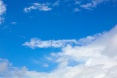 Blue sunny sky white clouds Royalty Free Stock Photo