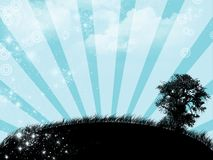 Blue sunrise - digital illustration. Blue sunrise with tree - digital illustration royalty free illustration