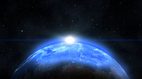 Blue sunrise, view of earth from space Royalty Free Stock Image