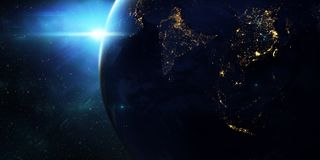 Blue sunrise, view of earth from space. vector illustration