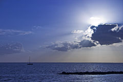 Blue sunset. In the coast Royalty Free Stock Images