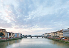 Blue sunset clouds over Arno River in Florence Royalty Free Stock Photos