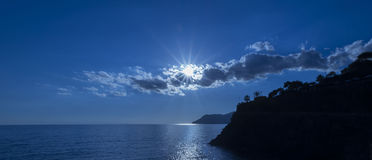 Blue sunset over Manarola Stock Photo