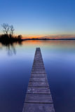 Blue Sunset over Wooden Jetty in Groningen, Netherlands Royalty Free Stock Image