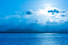 Blue sunset and sea Royalty Free Stock Images